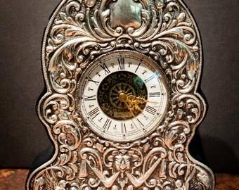 Vintage Sterling Silver Repousse British Clock