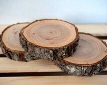 """Large Wood Slice 5""""-6"""" Rustic Wood Slice, Large Wood Slice, Wedding Table Display Wood Slab, Rustic Wedding Decor"""