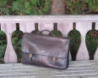 NYC Coach Briefbag Black Leather Multi Gusseted Briefcase Attache Laptop IPad Carrier- Rare in VGC