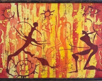 Petroglyphs, batik art, silk painting, original painting, batik wall hanging decoration, abstract