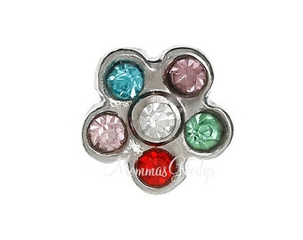 Rhinestone Flower Floating Charms