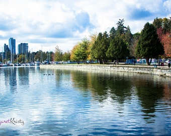 Park Walkway Next to a City - Vancouver Canada trees park water reflection sky photography