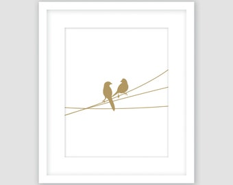 Birds on a Wire Print, Gold and White, Animal Wall Art, Modern Art, Instant Download, DIY, Printable