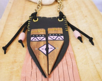 necklace syntetic leather pink black boho chic tribal