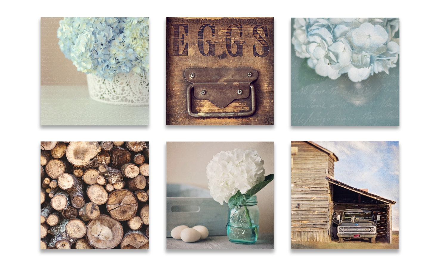 Farmhouse Wall Decor Rustic Art SET Of SIX Prints Blue