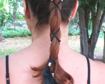 Feather Ponytail Wrap, Feather Wrap, Beaded Ponytail Wrap,Boho Hair Wrap,Hippie Hair Tie,Hipster Ponytail Holder,Braid Wrap,Feather Hair Tie