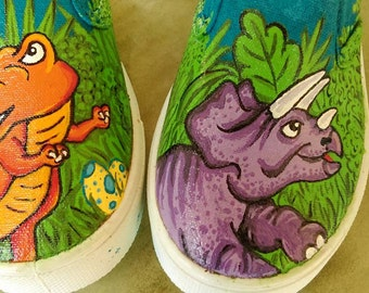 Dinosaurs. Painted shoes. custom