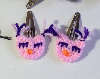 Handmade crochet owl hair clips pair