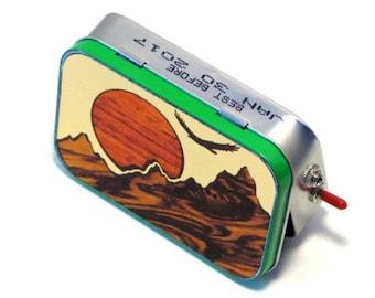 """Pocket Boombox Mint Tin Portable Speaker -""""that mountain high"""" Sunset Scene - Techie Gift for Him - Mini Speaker System - Boombox - Makbuilt"""