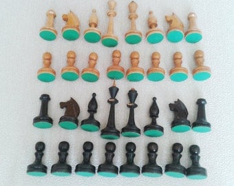 Wooden soviet chess pieces, vintage chessmen ussr