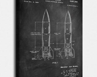 Von Braun Rocket  Canvas Print, Von Braun Rocket  Patent,  Vintage Art,  Blueprint,  Poster, PatentPrints, Wall Art, Decor [GU5C]