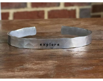 "Explore - Outside Message Hand Stamped Cuff Stacking Bracelet Personalized 1/4"" Adjustable Handmade"
