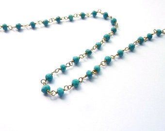 50 cm silver chain 925 with turquoise spacer beads PA0160