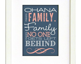 Navy and Coral Ohana Wall Art Print- DIGITAL