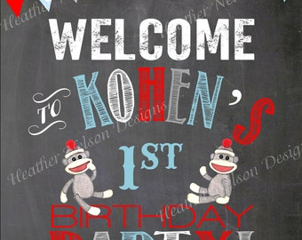 Blue Chalkboard Sock Monkey Birthday Party Welcome Sign