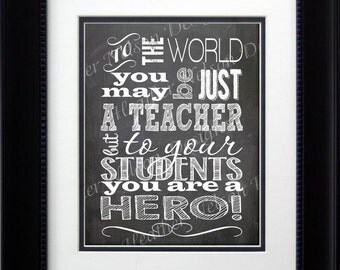 Chalkboard Teacher Hero Home Decor Print