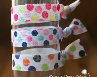 Polka Dot Hair Ties Set of 3, Elastic Hair Tie, Ponytail Holder, Dots