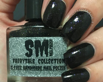 Puss In Boots/ Black Glitter Cream Indie Nail Polish