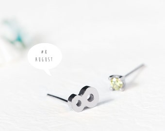 Number 8 Earrings 925 Sterling Silver August Birthstone Peridot Tiny Stud Earrings Jewelry