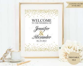 Wedding welcome sign (PRINTABLE FILE) - Gold wedding welcome sign - Welcome sign wedding - Welcome to our wedding sign W001