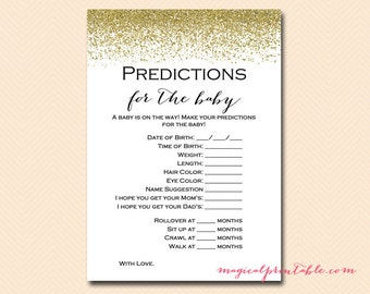 Predictions for the baby, baby prediction cards, Gold Glitter Baby Shower Games Printable, Baby Shower Activities, Download TLC87