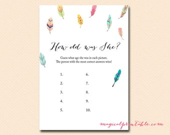 how old was she, guess how old, Bird, Feather Bridal Shower Game Printables, Bachelorette, Wedding Shower Games BS60