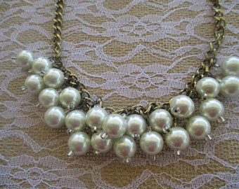 BEADED NECKLACE Pearl Necklace Cluster Necklace Statement Necklace