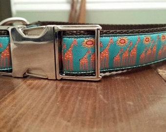 "1"" Giraffes Collar with Custom Ribbon"