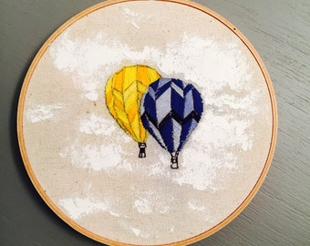 Yellow and Blue Hot Air Balloon Mixed Media Embroidery Hoop Art