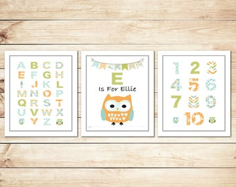 Peronalized Alphabet and Numbers Owl Print (set of 3 Prints)