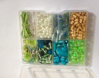 Deep Blue sea Turquoise & Green Jewellery making kit findings,beads,charms New
