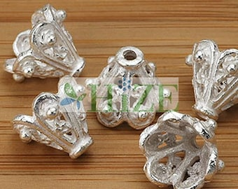 HIZE BB284 925 Bali White Sterling Silver Filigree Cone Cap Connector Beads 9x9.5mm (8)