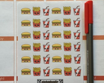 Kawaii Hamburger, Fries, and Soda Planner Stickers
