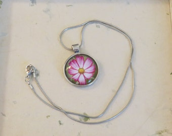 Cosmos Flower Pendant - 25mm Photo Jewelry - Pink Flower Necklace