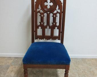 Antique Victorian Walnut Pierce Carved Masonic Gothic Club Throne King Chair B