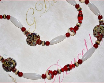 Red Beaded Necklace, Extra Long Necklace, Red Lampwork Beads, Double Strand Beads, White and Red Beads, Gold Foil Beads