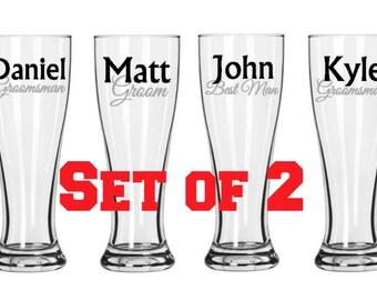 Set of 2 Bridal Party Pilsner Glasses, Groomsman gifts, personalized pilsner glasses
