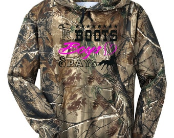 Realtree AP Camo Camouflage Boots Boys & Bays Horse Hoodie Sweat Shirt Tack Pony Cowgirl Just Ride