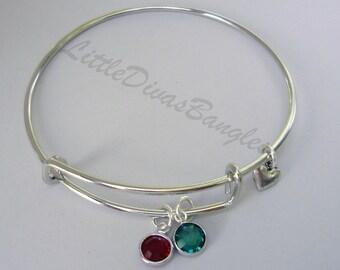 Two Swarovski Birthstones Crystal Charm  Bracelet  / Bangle /  Under Twenty/ Wedding / Bridal / Flower Girl / Gifts  /  Usa BS1