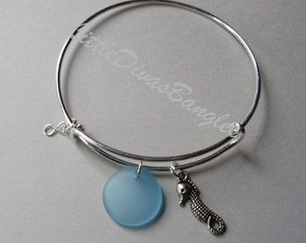 SeaHorse Charm /  Sapphire Sea GLASS W/ Silver Infinity Dangle /  Expandable Bangle / Beach Charm  Bangle / Gift For Her  USA GL1