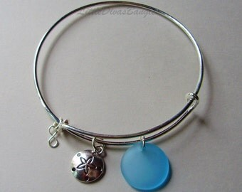 Sand Dollar  Charm W/ Sapphire Sea Glass Bracelet /  Expandable  BANGLE W/ Small  Silver Infinity / Gift For Her Drop  / Usa  GL1