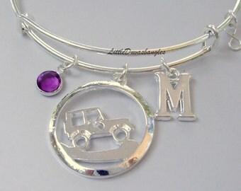 Off Road /JEEP Charm Bangle / Personalize W/  Swarovski Birthstone / Jeep Bangle /- Beach bangle - Gift For Yer - Made In USA  J1