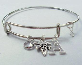 Swarovski Crystal / Initial to Physical Therapist Bangle / Adjustable Bangle Bracelet / Gift For  MD1
