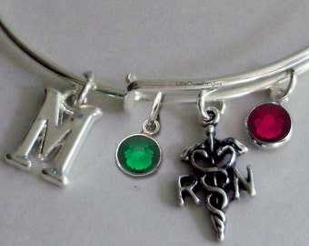 REGISTERED NURSE Adjustable Bangle W/ Birthstone Crystal / INITIAL Drop / Bangle Bracelet / Jewelry /  Gift For Her-  Usa  N1