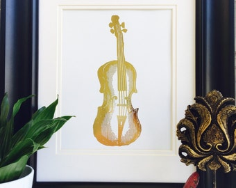 Violin, Instrument, Gold Foil Print, music wall art, Violin Art, Real Foil print, Violin Instrument, music gift, violin print