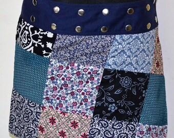 Gugi Reversible Patchwork Wrap Skirt