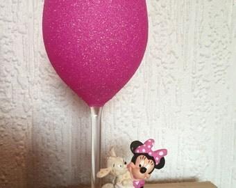 Minnie with dog large glitter wine glass