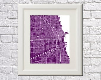 Chicago Street Map Print Map of Chicago City Street Map Chicago Poster City Art 7002P