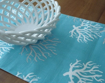 Table Runner / Dining Table Runner / Cloth Table Runner / Aqua Gray and White Coral Table Runner/ Table Linens / Made To Order
