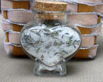 12 Bath Salt Heart Jars for Wedding Favors - Tea Pary Favors - Bridal Shower or Baby Shower Favors